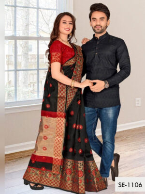 SE1106 Designer Saree and Kurta Combo