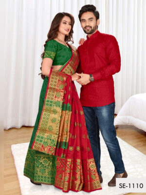 SE1110 Designer Saree and Kurta Combo