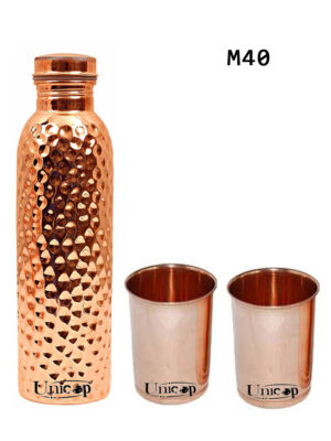 One Hammered Copper Bottle And Two Plain Copper Glasses