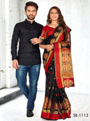 SE1112 Designer Saree and Kurta Combo