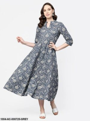 Grey & Off-white Floral Printed Maxi dress with Madarin Collar & 3/4 sleeves
