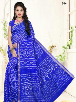 304 Blue Designer Art Silk Bandhej Saree