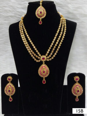 15B White and Red Diamond Work Necklace Set with Maang Tika