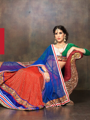 1674Green and Red Net Brasso Party Wear Lehenga Choli