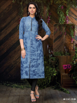 D105 M Size Denim kurti Collection