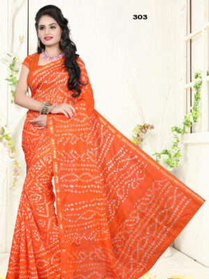 303 Orange Designer Art Silk Bandhej Saree
