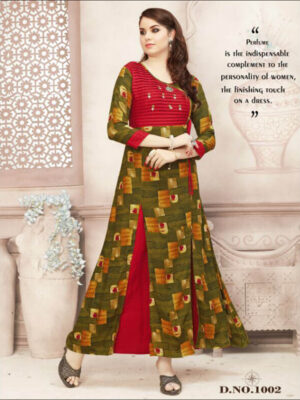 1002 Red and Olive Green Gown Style Stitched Kurti