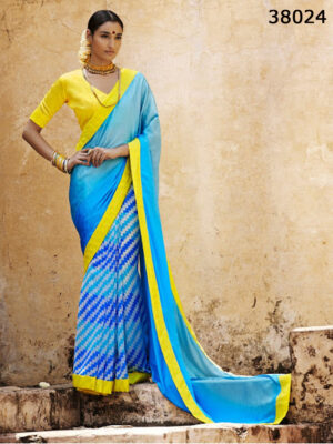 38024SkyBlue and Yellow  Satin Georgette Saree