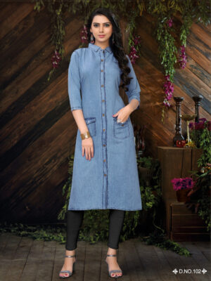 D101 M Size Denim kurti Collection