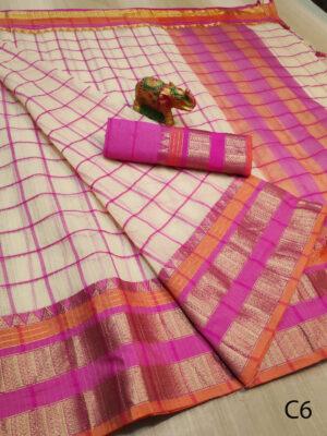 C6  Bahubali Soft Kota Doria Checks Saree Collection