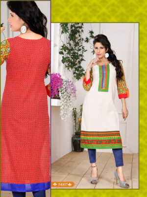 54007White and Green Embroidered Printed Cotton Party Wear Stitched Kurti