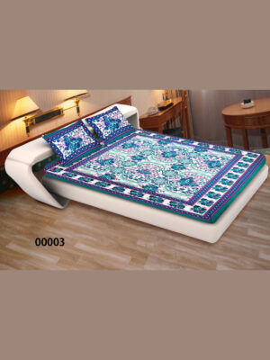 00003SeaGreen and Multicolor Ethnic Cotton Queen Size Floral Bedsheet With 2 Pillow Covers