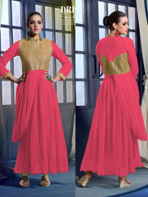 20019MagentaPink Wedding Occasional Wear Designer Anarkali Style Gown