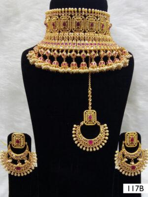 117B Maroon Bridal Wear Necklace Set With Maang Tika