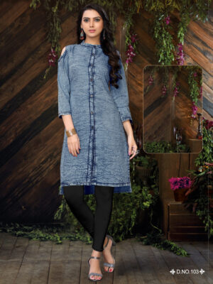 D103 M Size Denim kurti Collection