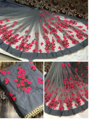 1199D Pure Mono Designer  Net Saree With Embroidery