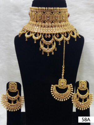 58A Golden Stone Bridal Wear Necklace Set With Maang Tika