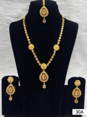 30A White Diamond Work Necklace Set with Maang Tika