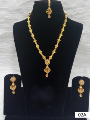 02A White Diamond Work Necklace Set with Maang Tika