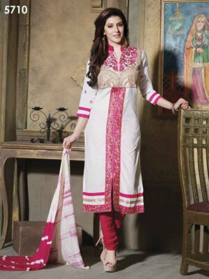 5710 Pink and White Pure Cotton Party Wear Long Straight Suit