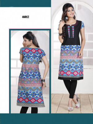 46012Black and Blue Embroidered Printed Cotton Party Wear Stitched Kurti