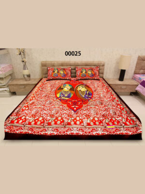 00025Red and Multicolor Traditional Cotton Queen Size Bedsheet With 2 Pillow Covers