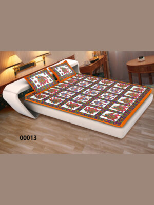 00013Orange and White Traditional Cotton Queen Size Bedsheet With 1 Pillow Cover