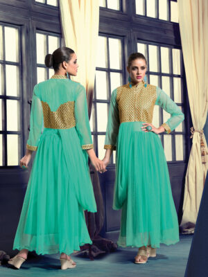 20014SpringGreen Wedding Occasional Wear Designer Anarkali Style Gown
