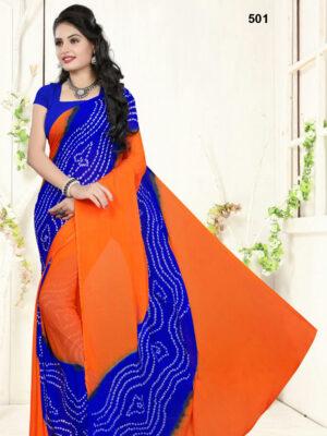 501 Fanta Orange Designer Bandhej Printed Chiffon Saree