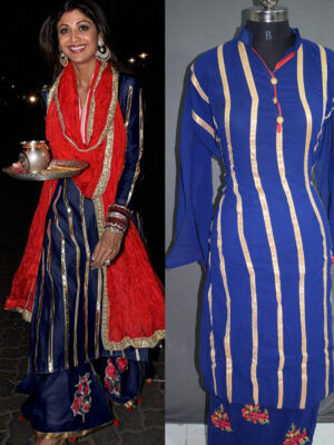 04Blue Designer Function Wear Traditional Semi-stitched Designer Plazo Replica Suit