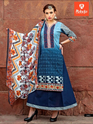 0002SlateBlue and MidnightBlue Printed Cambric with Neck Work Daily Wear Designer Suit