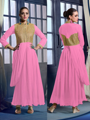 20013Pink Soft Net Wedding Occasional Wear Designer Anarkali Style Gown