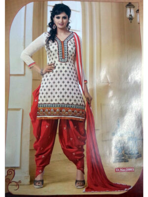 2005Cream and Red Daily Wear Patiala Suit