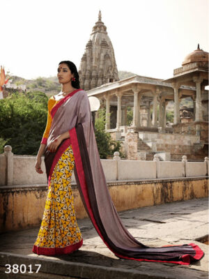 38017Brown Yellow and Red  Satin Georgette Saree