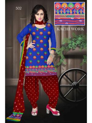 502Blue Designer Exclusive Fancy Daily Wear Cotton Salwar Suit