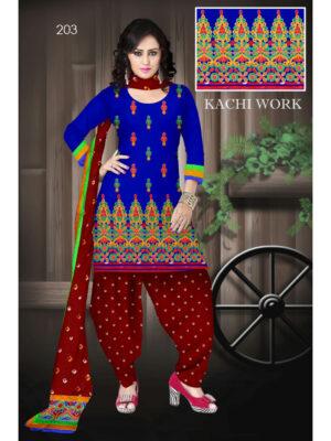 203Blue Designer Exclusive Fancy Daily Wear Cotton Salwar Suit
