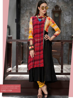 1154 Red and Black Designer Gown Style Stitched Kurti