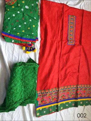 002 Red Designer Embroidered Salwar Suit