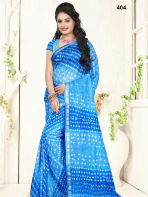 404 Sky Blue Designer Art Silk Bandhej Saree