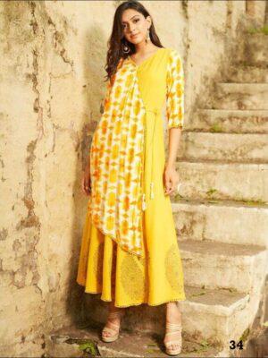 34 Yellow Designer Stylish Gown