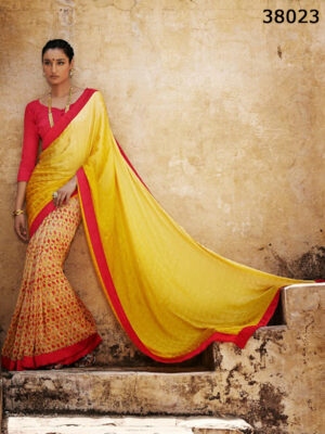 38023Yellow and Red  Satin Georgette Saree
