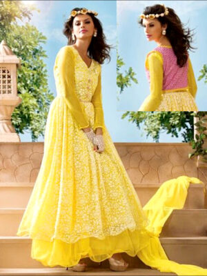 5806Yellow Gown Style Anarkali Suit