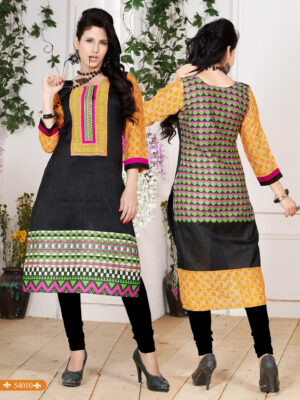 54010Black and Orange Embroidered Printed Cotton Party Wear Stitched Kurti