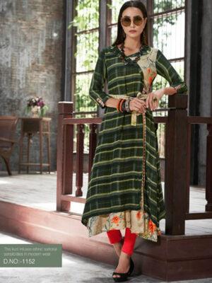 1152 Dark Green Designer Gown Style Stitched Kurti