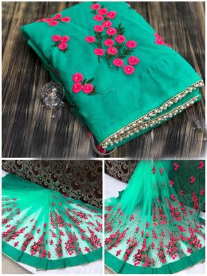 1199B Pure Mono Designer  Net Saree With Embroidery