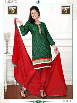 2013 Green and Red Chudidar Suit