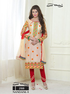 2188Cream and Red Embroidered Glace Cotton Ocassional Wear Straight Suit