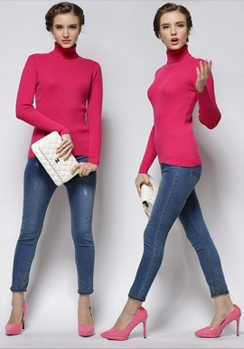 Women's Relaxed Wool Turtle Neck Sweater With Rib Trim