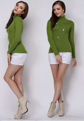 Women's Slim Fit Soft Turtle Neck Sweater