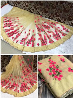 1199E Pure Mono Designer  Net Saree With Embroidery